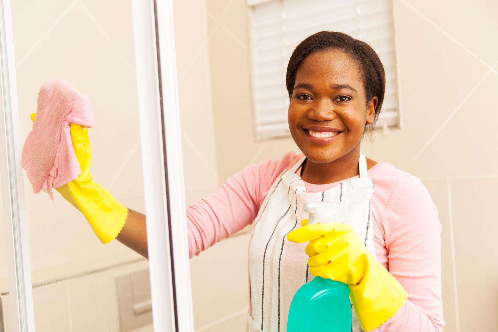 Apply bathroom cleaner